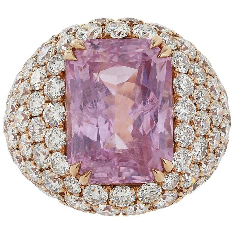 16.67 Carat Burma Unheated Padparadscha Sapphire and Diamond Ring For Sale