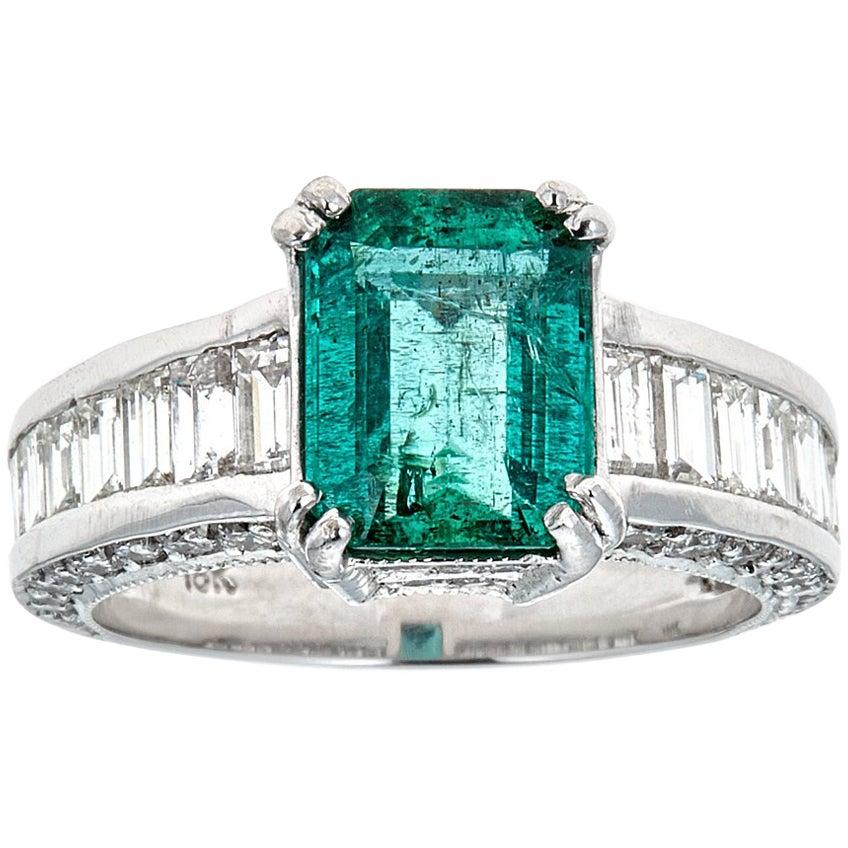 4.5 TCW Emerald cut Green Emerald Baguette Round Diamonds 18k White Gold InStock
