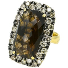 Large Brown Smoky Quartz 16.00cts Ring with Brown Diamonds in 18KYG - Italian