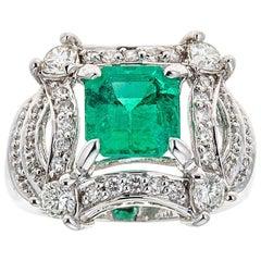 Emerald and Diamond 14 Karat Gold Ring