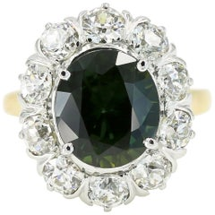 4.75cts. Oval Cut Green Sapphire & Diamond Ring in 14kt White & Yellow Gold