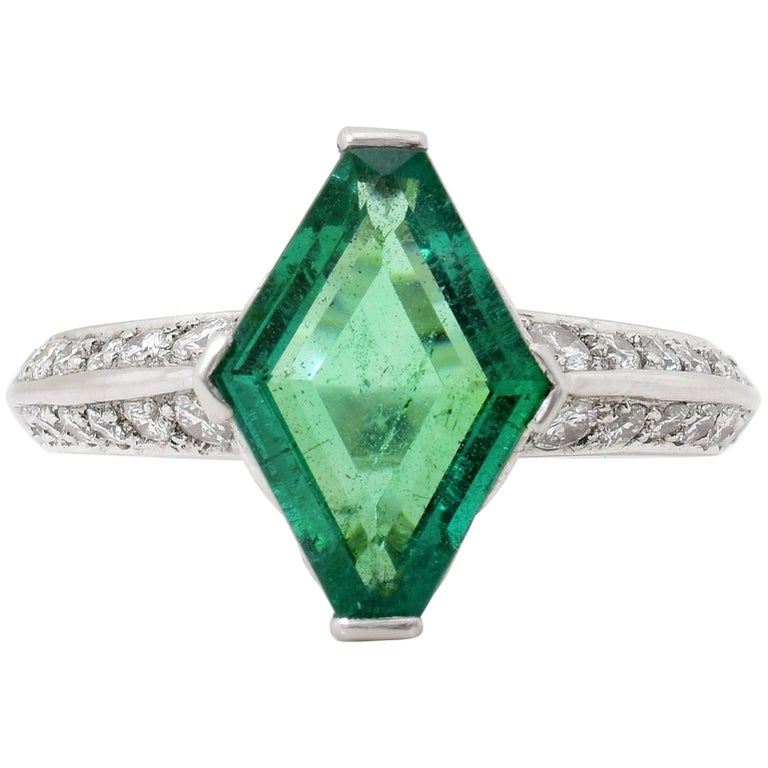 3.00 Carat Emerald Diamond Platinum Ring