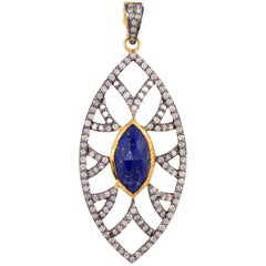 Bora Bora Marquise Lapis Pendant and Diamonds