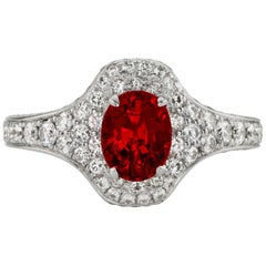 1.59 Carat No Heat Vivid Red Ruby 18 Karat Ring