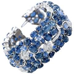 Seamon Schepps, Wide Diamond and Sapphire Bracelet in 18 Karat White Gold