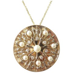 Large Round 14 Karat Gold Pendant with Cultured Pearls and Diamonds