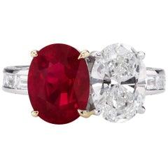 3.61ct Pigeon Blood Burma Ruby with 2.01ct GVS2 Oval GIA Diamond 18k Ring