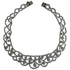 18 Karat White Gold Flexible Diamond Choker Necklace