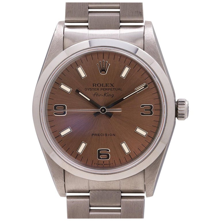 Rolex Stainless Steel Airking Explorer Dial self winding wristwatch, c 1996 For Sale