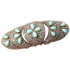 Clarissa Bronfman Turquoise and Diamond Gladiator Ring