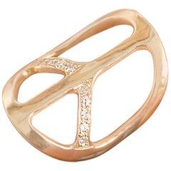 Clarissa Bronfman 14 Karat Gold and Diamond Peace Ring
