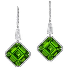 28.01 Carat Vivid Green Asscher Cut Peridot Platinum Earrings