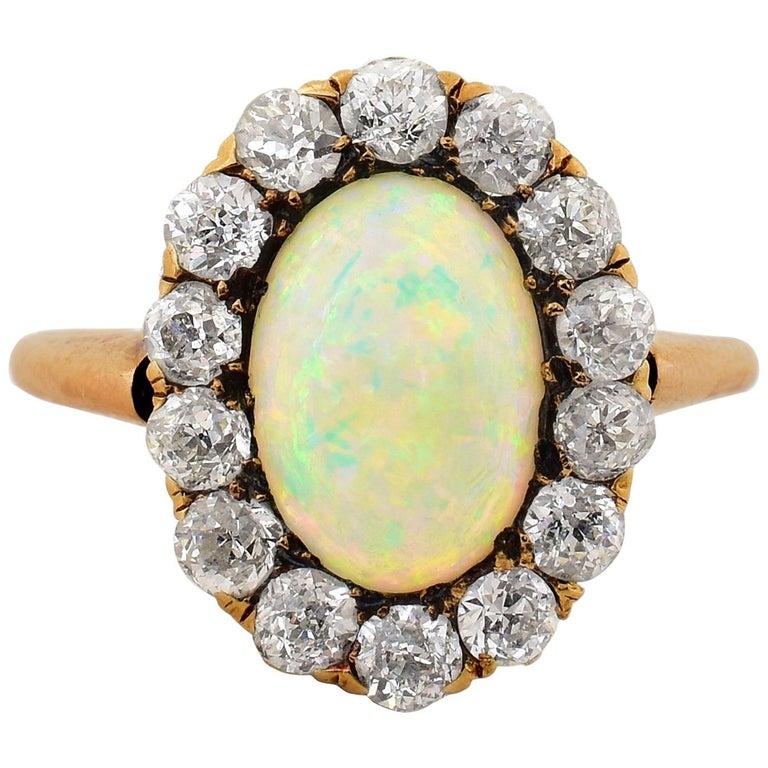 Victorian Era Opal Diamond Gold Ring