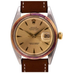 Rolex Yellow Gold Stainless Steel Oyster Datejust self winding Wristwatch, c1963