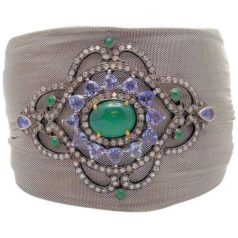 Steel/Silver Mesh Emerald, Tanzanite and Diamond Hinged Bracelet