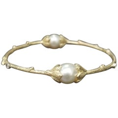 14 Karat Yellow Gold South Sea Pearl and Diamond Bark Bangle