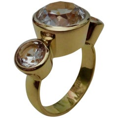 Michael Kneebone White Sapphire 18 Karat Gold Three-Stone Leah Ring
