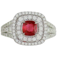 Frederic Sage 0.99 Carat Ruby and White Diamond One of a Kind Ring