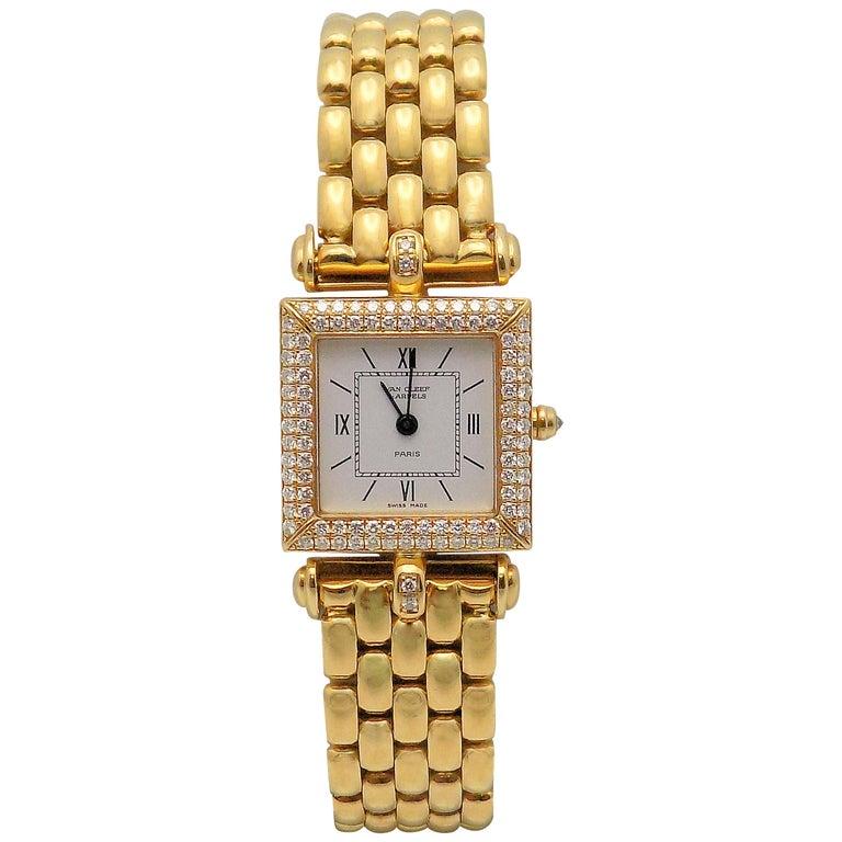 Van Cleef & Arpels Ladies Yellow Gold Diamond Classique Wristwatch For Sale