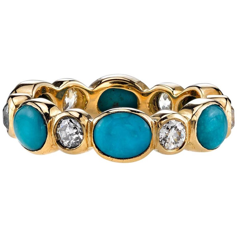 Turquoise and Old European Cut Diamonds Set in a Yellow Gold Eternity Band For Sale