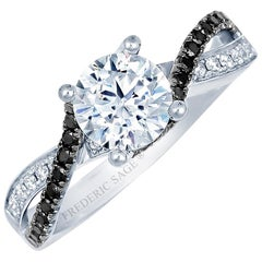 Frederic Sage Black & White Diamond 1 CT Engagement Ring, center not included