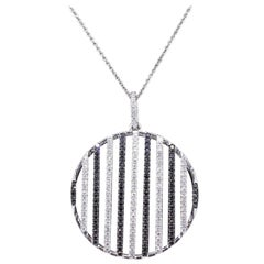 Ladies Black & White Diamond Circle Pendant Necklace 1.05 TCW 14KT White Gold