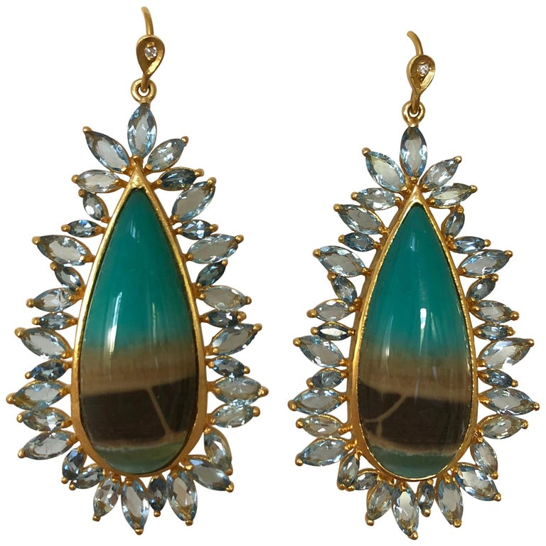 Lauren Harper Aquamarine Opalized Petrified Wood Gold Earrings