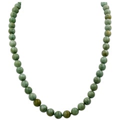 14 Karat Gold Nephrite Jade Bead Necklace