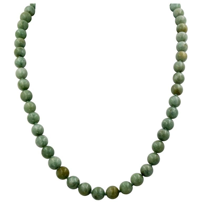 14 Karat Gold Nephrite Jade Bead Necklace