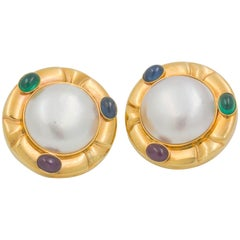 Mabe' Pearl 14 Karat Yellow Gold Ruby, Blue Sapphire, Emerald Clip-On Earrings
