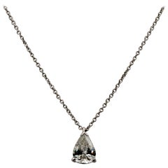 .83 Carat Vintage Pear Transition Cut Diamond Platinum Necklace