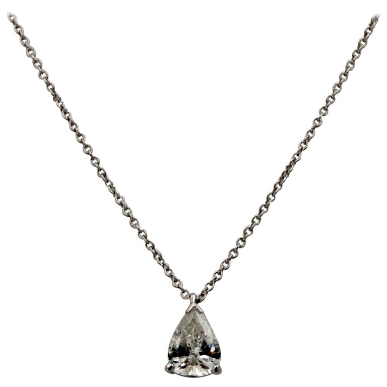 .83 Carat Vintage Pear Transition Cut Diamond Platinum Necklace For Sale
