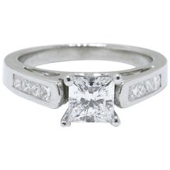 Celebration 18 Karat White Gold Diamond Ring Princess Cut 1.25 Carat F SI1