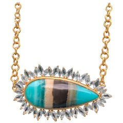 Lauren Harper Aquamarine Petrified Opalized Wood Gold Necklace