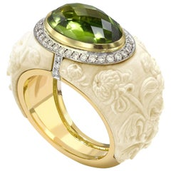 Peridot, Diamond and Carved Mammoth Bone Chrysanthemum Ring