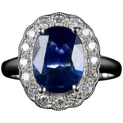 Antique Sapphire Diamond Ring Platinum, circa 1900-1930