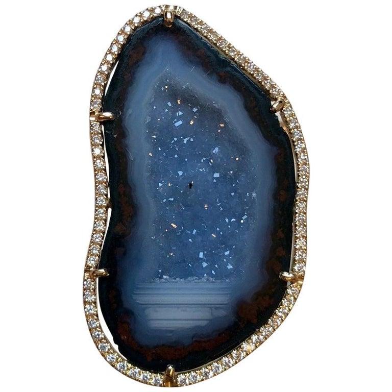 Karolin Agate Geode Blue Gold Cocktail Ring Pavé Diamonds