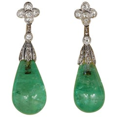 Hawkantiques Art Deco 35.80 Carat Natural Emerald Diamond Platinum Earrings