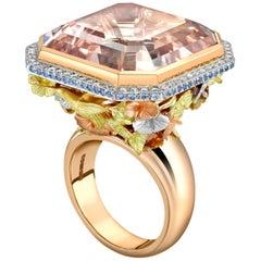 Morganite, Sapphire and Diamond Hummingbird Cocktail Ring