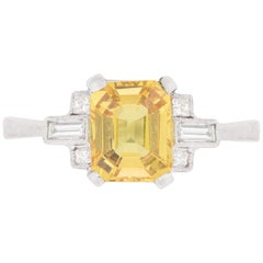 Art Deco Inspired Yellow Sapphire and Diamond Ring, circa 1960s