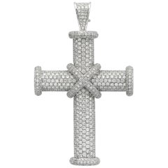 White Diamond Pave Cross Pendant