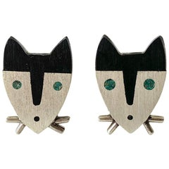 1950s Sterling Silver Wood Modernist Cat Cufflinks
