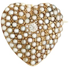 1900s Antique Diamond and Seed Pearl Yellow Gold Heart Brooch
