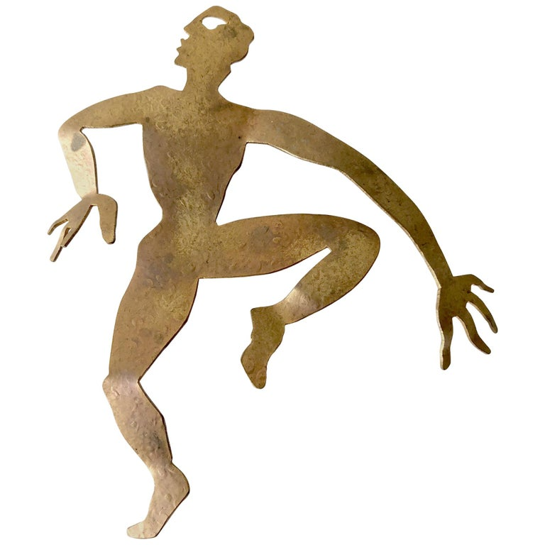 Herve Van Der Straeten Gilded Brass Dancer Brooch For Sale