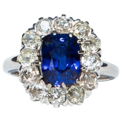 Lambert Brothers Saphire and Diamond Cluster Ring