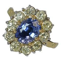 Natural 2.25 Carat Sapphire and 1.00 Carat Diamond 18 Carat Gold Cluster Ring