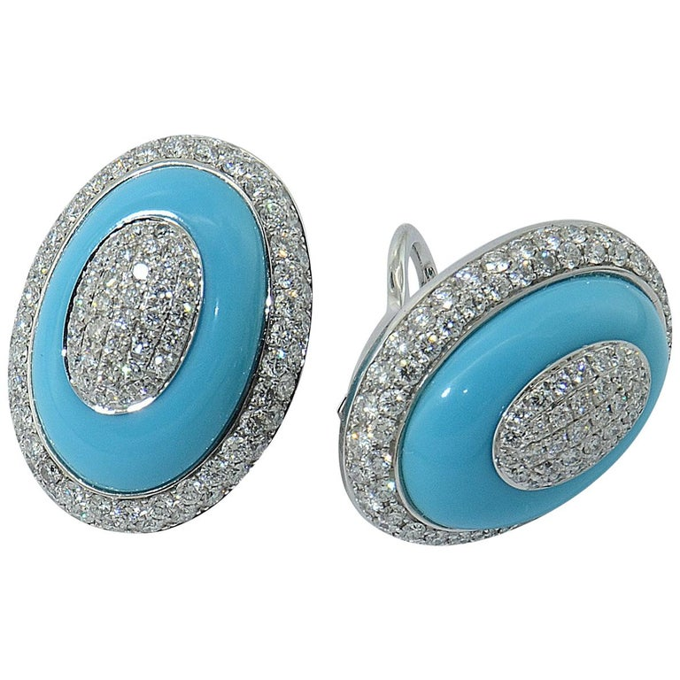 Margherita Burgener 18 Karat Gold Diamond Turquoise Clip Earrings
