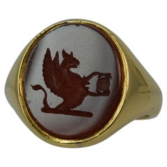 Large Victorian 18 Carat Gold Griffin Intaglio Carnelian Signet Ring