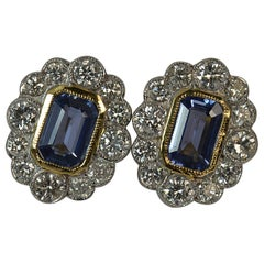 Art Deco Design 18 Carat Gold Sapphire and Diamond Cluster Earrings