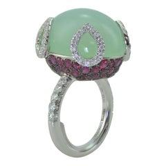 Ring Dome Margherita Burgener Gold Diamond Ruby Cabochon Chrysoprase, Italy